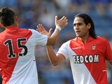AS Monaco's Radamel Falcao celebrates his goal against Leicester on July 27, 2013