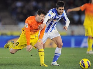 Real Sociedad's Markel Bergara during their Spanish League soccer match against FC Barcelona on January 19, 2013