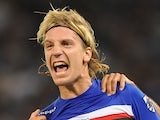 Sampdoria forward Maxi Lopez celebrates his goal on September 2, 2012