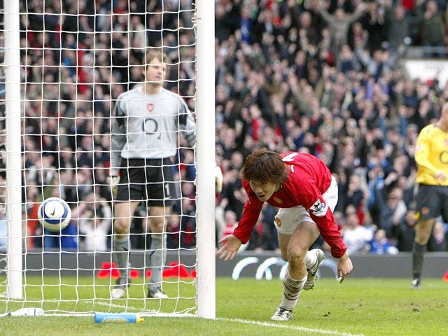 Park Ji-Sung finds the net for the first time against Arsenal.