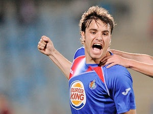 Getafe's Pedro Leon celebrates his goal on April 25, 2010