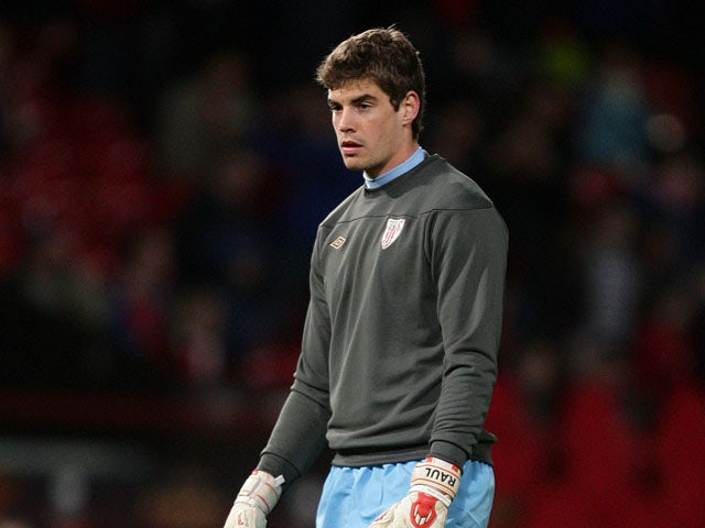 Athletic Bilbao goalkeeper Raul Fernandez Mateos before the Europa League match against Manchester United on March 8, 2012