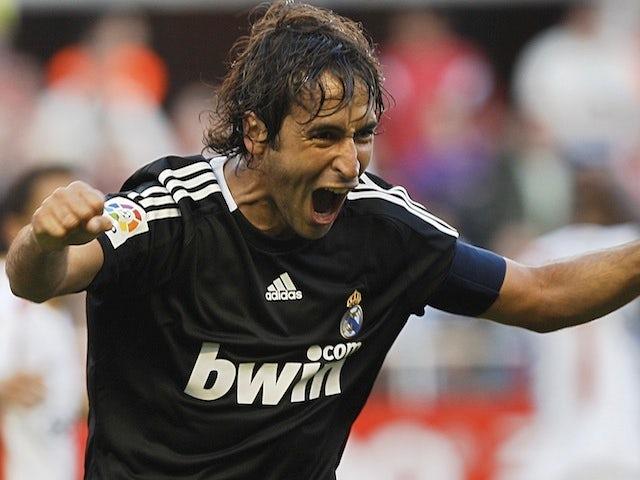 Real Madrid captain Raul celebrates a goal against Sevilla on April 26, 2009