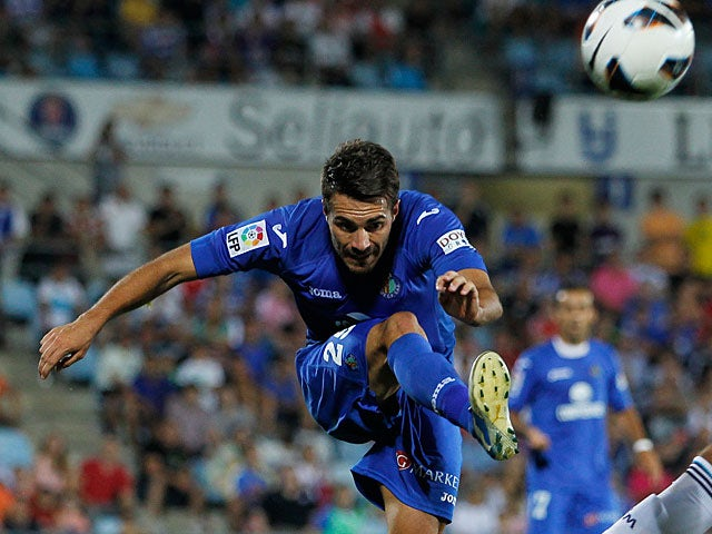 Getafe's Xavi Torres in action on August 26, 2012