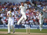 Ryan Harris of Australia celebrates after bowling Ian Bell of England during day three of the 3rd Investec Ashes Test match on August 3, 2013
