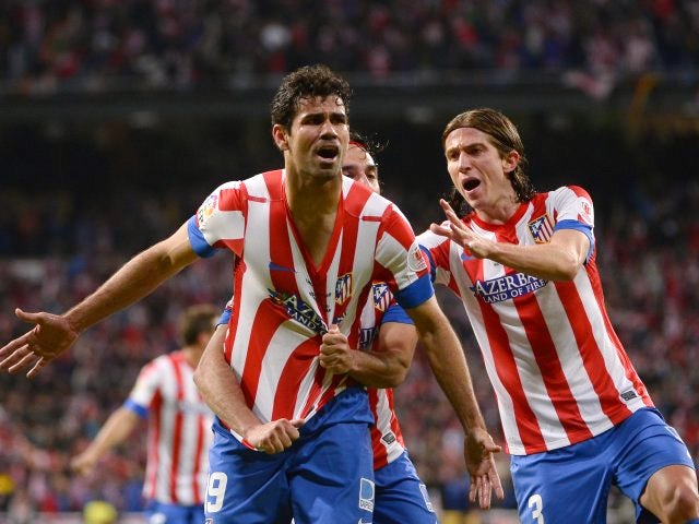 Diego Costa celebrates his goal in the Copa del Rey final against Real Madrid.