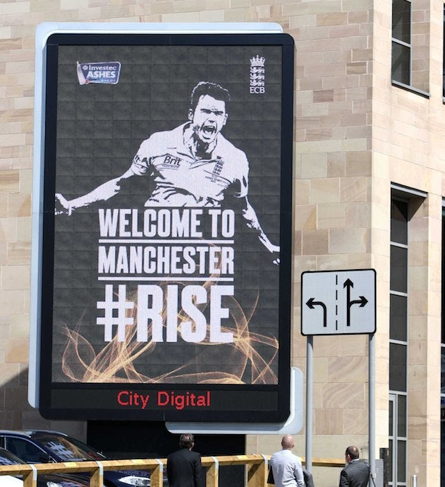 The 'Welcome to Manchester' billboard aimed at James Anderson