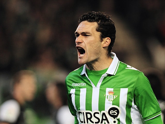Real Betis' Jorge Molina celebrates his goal on February 24, 2013