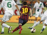 FC Barcelona's Lionel Messi in action during the friendly match against Lechia Gdansk on July 30, 2013