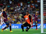 Barca striker Pedro scores against Santos on August 2, 2013