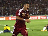 Venezuela's Salomon Rondon celebrates after scoring against Colombia during a World Cup 2014 qualifying match on March 26, 2013
