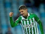 Real Betis' Salva Sevilla celebrates his goal on November 5, 2012