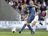 Newcastle United's Mathieu Debuchy scores during a pre-season friendly against St Mirren on July 30, 2013