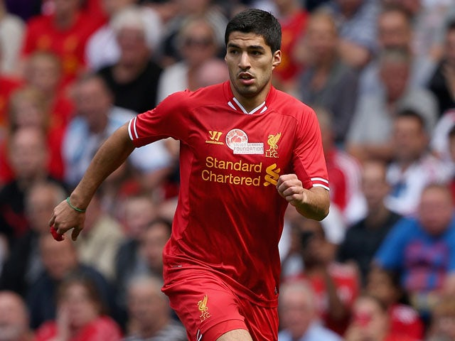 Luis Suarez of Liverpool in action during the Steven Gerrard Testimonial Match between Liverpool and Olympiacos on August 3, 2013