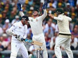 England's Stuart Broad is caught behind by Brad Haddin of Australia on August 4, 2013