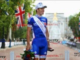 Arnaud Demare of France and FDJ stands on the podium after winning the London - Surrey Classic on August 4, 2013