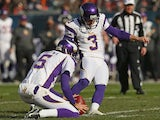 Blair Walsh of the Minnesota Vikings kicks a field goal on November 25, 2012