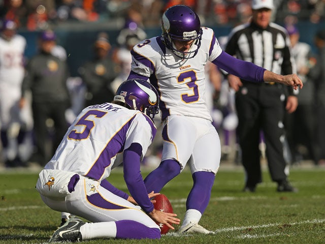 Blair Walsh of the Minnesota Vikings kicks a field goal on November 25, 2012