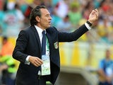 Italy's coach Cesare Prandelli on the touchline during the Confederations Cup match against Uruguay on June 30, 2013