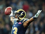 Chris Givens of the St. Louis Rams celebrates scoring the opening touchdown during the NFL International Series match between the New England Patriots and the St.Louis Rams on October 28, 2012