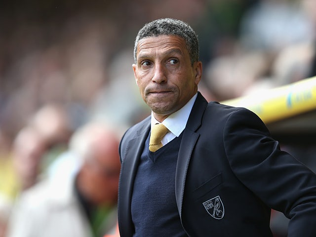 Norwich City manager Chris Hughton in the dugout during the match against Aston Villa on May 4, 2013