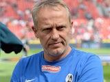 Freiburg's head coach Christian Streich prior to kick-off against Bayer Leverkusen on August 10, 2013