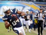 Danario Alexander #84 of the San Diego Chargers catches the ball against the Oakland Raiders on December 30, 2012