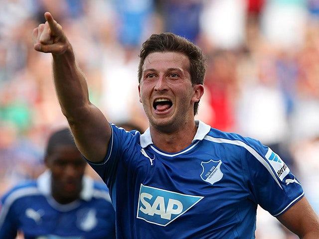 Hoffenheim's David Abraham celebrates after scoring the opener against Nuremberg on August 10, 2013