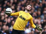 David De Gea of Manchester United throws the ball down field during the FA Cup match against Chelsea on April 1, 2013