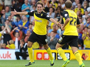 Watford's Gabriele Angella celebrates after scoring his second goal against Bournemouth on August 10, 2013