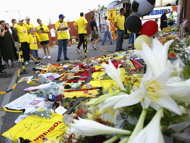 Watford supporters pay tribute to Jimmy Davis.
