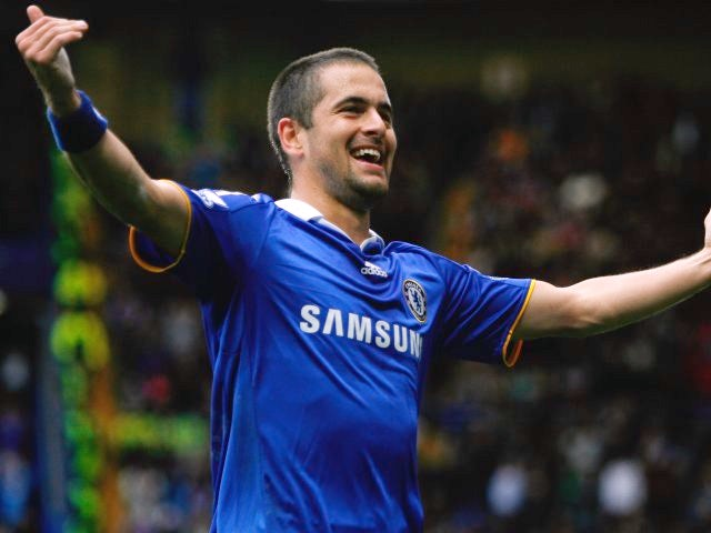 Joe Cole celebrates scoring for Chelsea against Aston Villa.