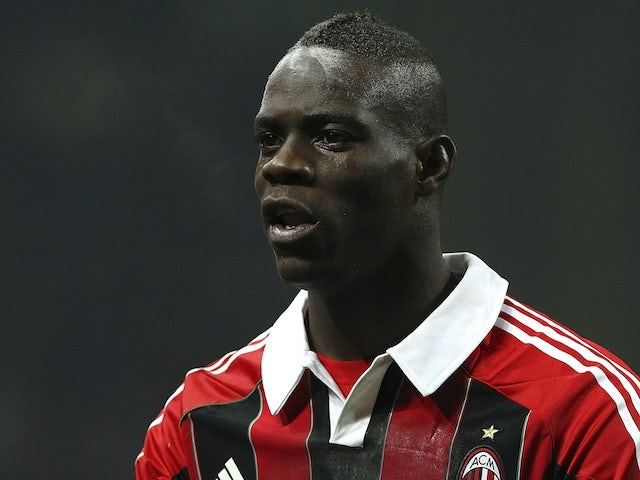Milan striker Mario Balotelli in action against Inter on February 24, 2013