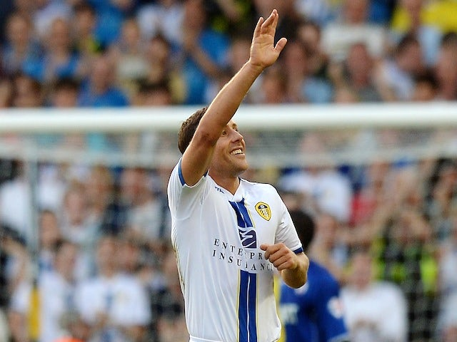 Leeds midfielder Michael Brown celebrates a goal against Chesterfield on August 7, 2013