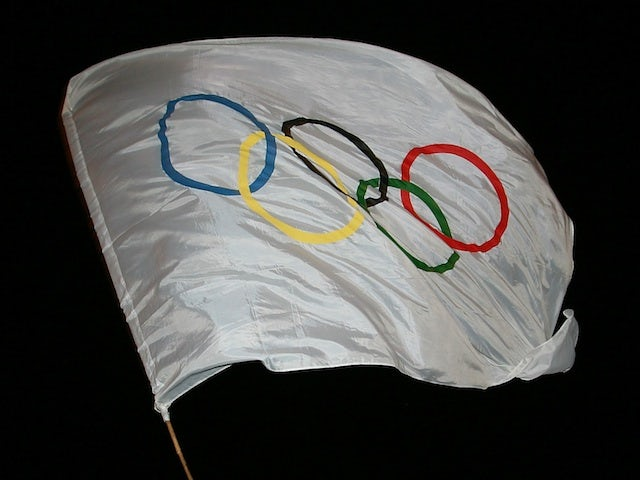 The Olympic flag pictured on April 26, 2007