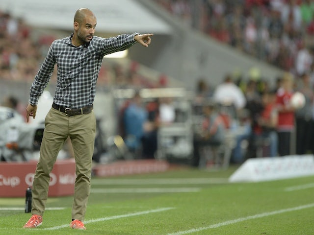 Bayern manager Pep Guardiola on the touchline against Sao Paulo on July 31, 2013