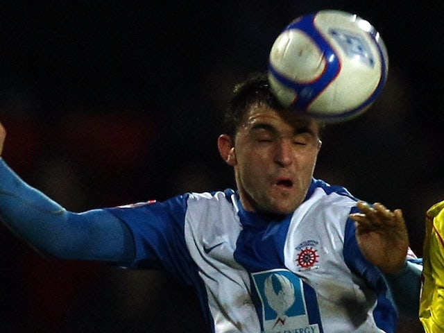 Hartlepool's Peter Hartley in action against Watford on January 8, 2011