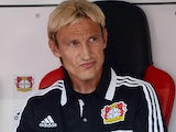Bayer Leverkusen head coach Sami Hyypia prior to kick-off against Freiburg on August 10, 2013