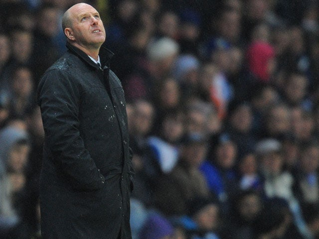 Blackburn Rovers' Scottish manager Steve Kean reacts during the English Premier League football match between Blackburn Rovers and Wigan Athletic on May 7, 2012