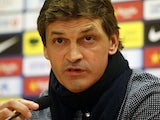 Tito Vilanova looks on as he gives a press conference in Barcelona on May 31, 2013