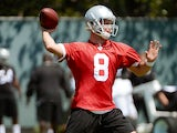 Tyler Wilson of the Oakland Raiders participates in drills during Rookie Mini-Camp on May 11, 2013