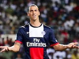 PSG's Zlatan Ibrahimovic reacts during the match against Bordeaux on August 3, 2013