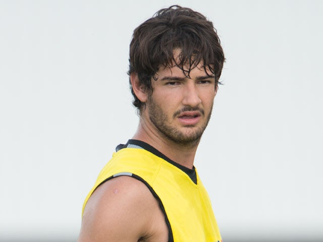 Brazilian Alexandre Pato practices at Corinthians' training center in Sao Paulo on January 31, 2012