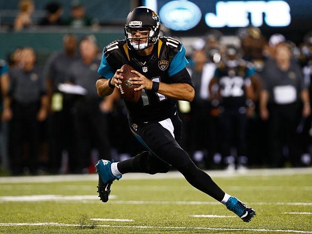 Jacksonville Jaguars' Blaine Gabbert in action on August 17, 2013