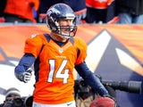 Brandon Stokley of the Denver Broncos reacts after he scored a 15-yard touchdown reception in the first quarter against the Baltimore Ravens during the AFC Divisional Playoff Game at Sports Authority Field at Mile High on January 12, 2013