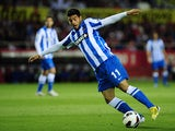 Real Sociedad's Mexican forward Carlos Vela controls the ball during the Spanish league football match Sevilla FC vs Real Sociedad at the Ramon Sanchez Pizjuan stadium in Sevilla on May 18, 2013