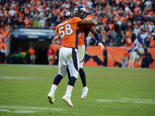 Champ Bailey #24 and Von Miller #58 of the Denver Broncos celebrate after scoring a touchdown on an intercepting during the game against the Tampa Bay Buccaneers at Sports Authority Field at Mile High on December 2, 2012