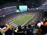 A general view of the Washington Redskins against the Dallas Cowboys during their game at Cowboys Stadium on September 26, 2011