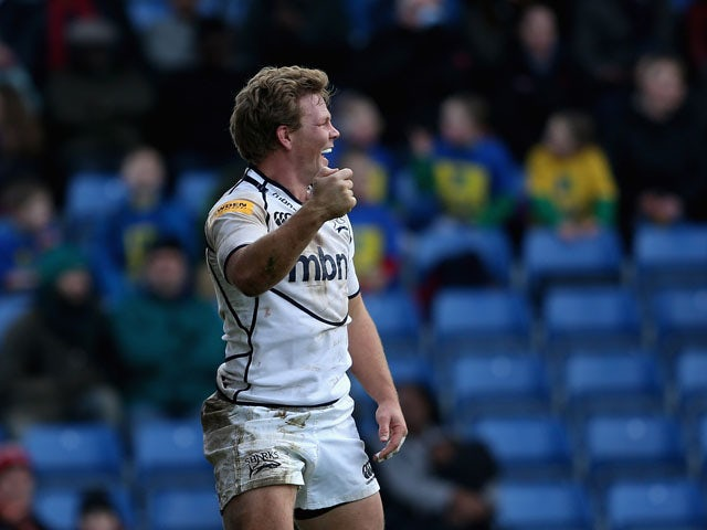 Dan Braid of Sale Sharks celebrates scoring a try during the Aviva Premiership match between London Welsh and Sale Sharks at Kassam Stadium on February 17, 2013