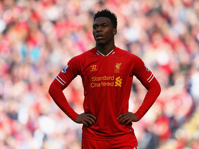 Daniel Sturridge of Liverpool looks on during the Barclays Premier League match between Liverpool and Queens Park Rangers at Anfield on May 19, 2013